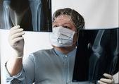 Mature doctor examining X-ray image — Stock Photo