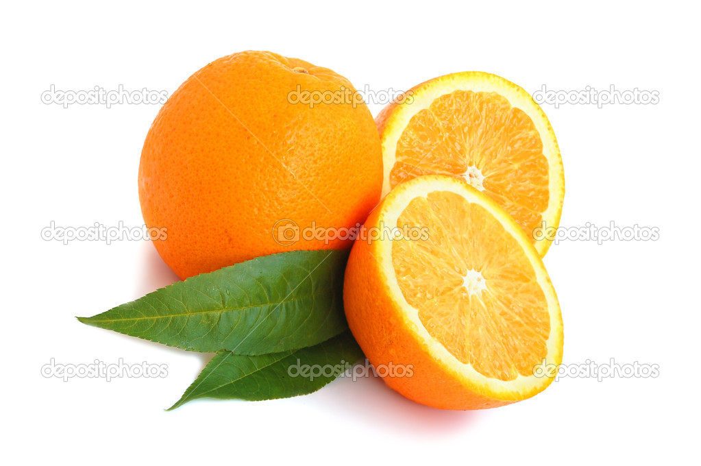 Orange citrus with leaves on white background — Stock Photo #1005956
