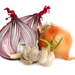 Stock Photo: Bulbs of garlic and red onion
