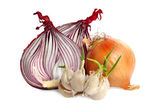 Bulbs of garlic and red onion — Stock Photo