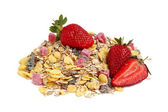 Healthy muesli and strawberries — Stock Photo