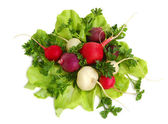 Fresh tasty greens and radish — Stock Photo