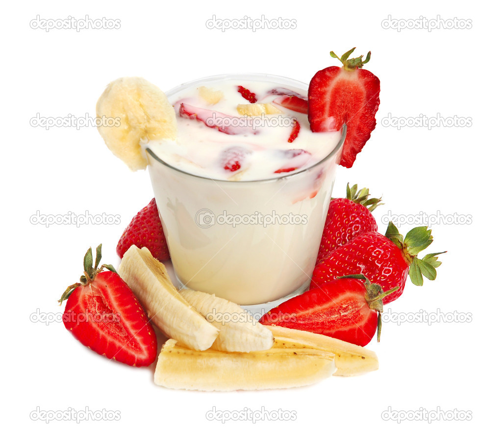 Delicious milk drink with strawberries and banana  Stock Photo #1044206