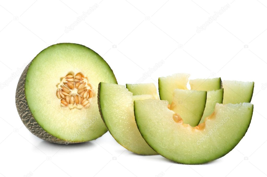 Freshly sliced cantaloupe melon on white background  Stock Photo #1046240
