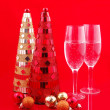 Stock Photo: Christmas trees and champagne