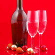 Christmas balls and champagne — Stock Photo