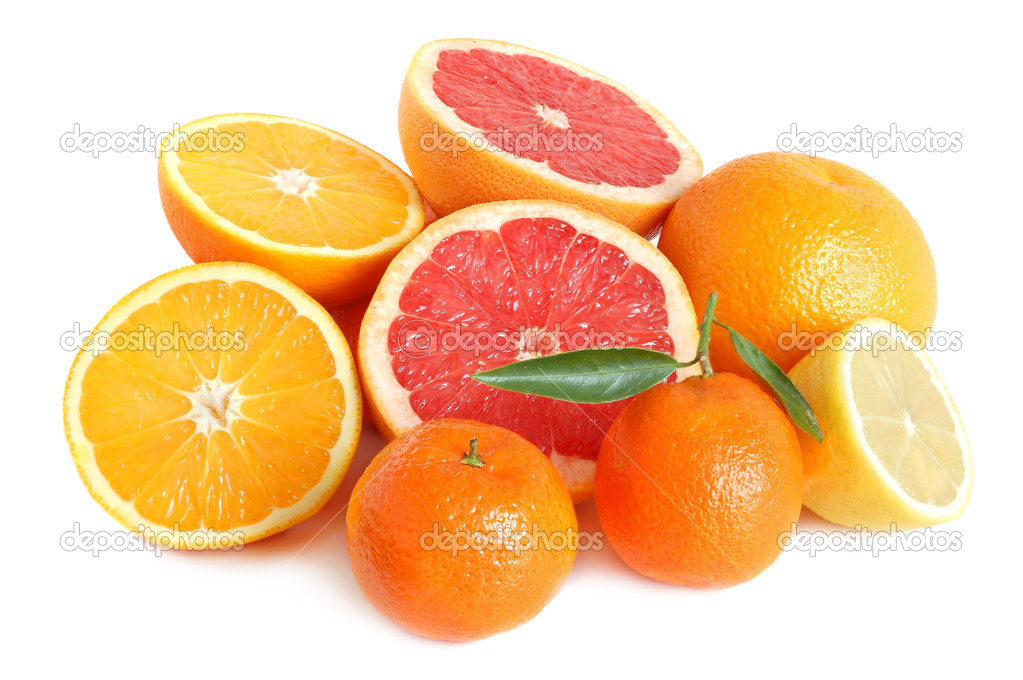 Heap of sweet citrus on white background — Stock Photo #1908495