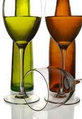 Vin flaskor och glas — Stockfoto