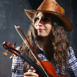 Beautiful violinist musician — Stock Photo