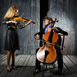 Playing on cello and violin - Stock Photo