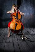 Beautiful cello musician — Stock Photo