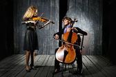 Playing on cello and violin — Stock Photo