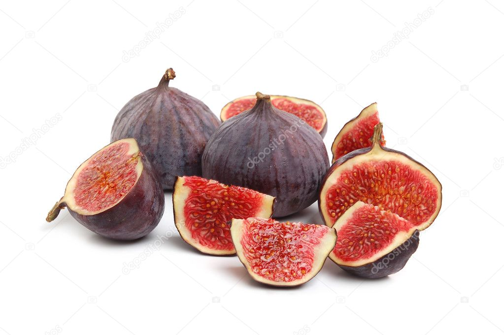 Fresh ripe figs and a juicy slice on white background  Stock Photo #2151719