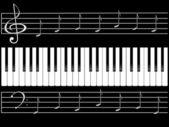 Piano keys and notes — Stock Photo