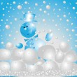 Snowman playing  snowballs - Stock Photo