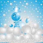 Snowman playing  snowballs — Stock Photo #1226237