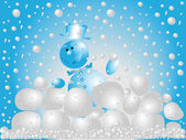 Snowman playing snowballs — Foto Stock