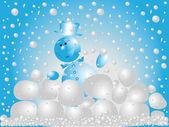 Snowman playing snowballs — Stock Photo