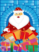 Santa Claus and gifts — Stock Photo