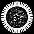 Stock Photo: Keys of piano and sphere from notes
