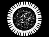 Keys of the piano and sphere from notes — Stock Photo