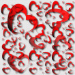 Red hearts and light background — Stock Photo