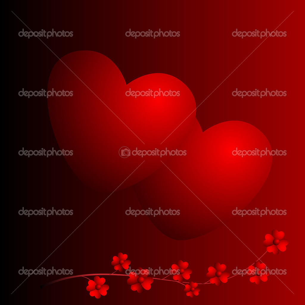 Two hearts and flowers on red background — Stock Photo #1409978