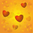 Hearts on gold background — Stock Photo