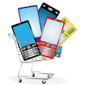 Collection of mobile phones — Stock Photo