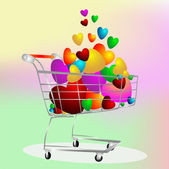Color hearts in the cart — Stock Photo