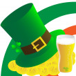 Hat,beer and money - Stock Photo