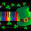 Stock Photo: Piano keys and green hat