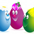 Stock Photo: Three Easter cheerful eggs