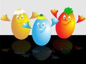 Three cheerful eggs — Stock Photo