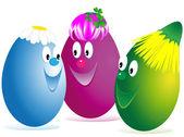Three Easter cheerful eggs — Stock Photo