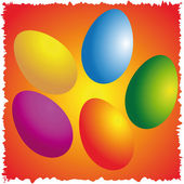 Easter eggs on color napkin — Foto Stock