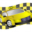 Stock Photo: Taxi and flag