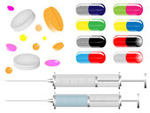 Medical tablets and pills — Stock Vector