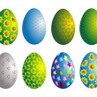 Stock Vector: Ornamented eggs