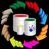 стрелка и краски — Cтоковый вектор