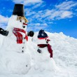 Two snowman - Stock Photo