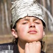Birch bark on the head — Stockfoto