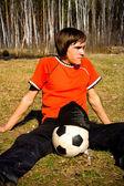 парень с мячом — Стоковое фото