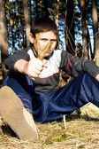 Ragazzo con forcella — Foto Stock