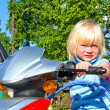 Little girl on scooter — Stock Photo