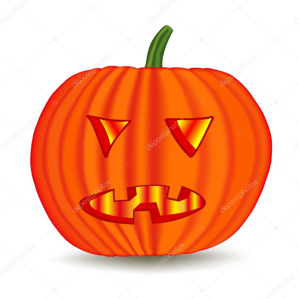 Halloween pumpkin isolated on white  Stock Vector #1102683