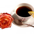 Cup with coffee with the rose — Stock Photo
