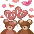 Two lovely bears with balons LOVE — Stock Photo