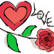 Royalty-Free Stock Imagem Vetorial: Heart with rose