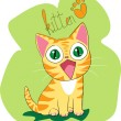 Stock Vector: Happy kitten